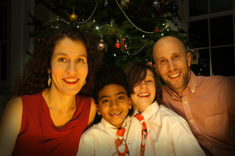 Kari Nicewander, at left, pictured with her family, asked her son's school to consider expanding its list of approved people to research to reflect Connecticut's diversity.