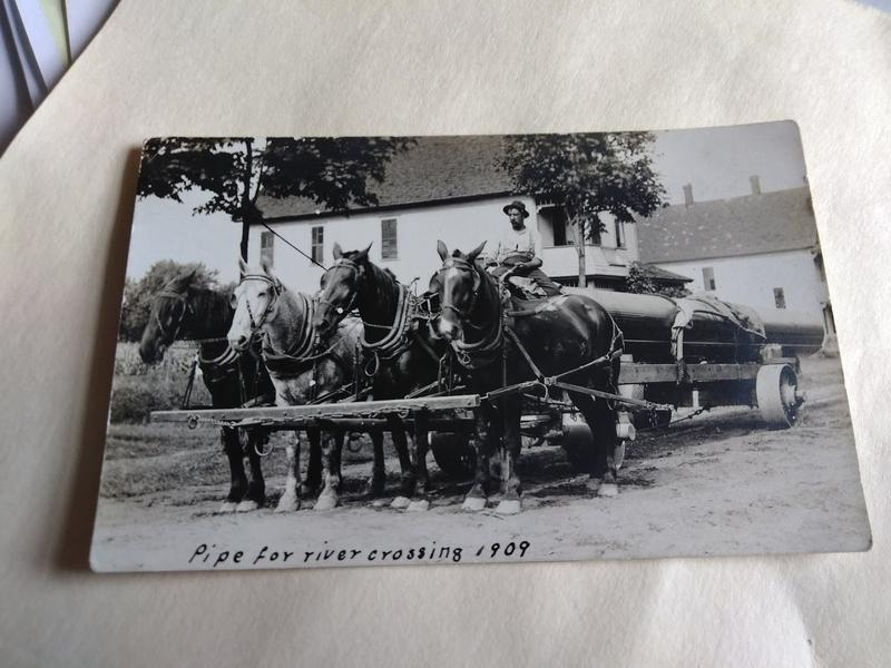 Early 20th century sewer system being set up in the Connecticut River for the city of Springfield, Mass.