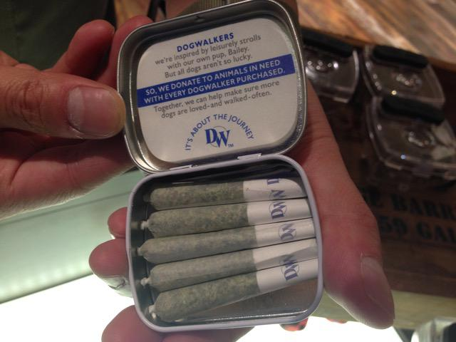 A box of joints branded as Dogwalkers are sold at Rise, a marijuana medical dispensary in Amherst, Massachusetts.