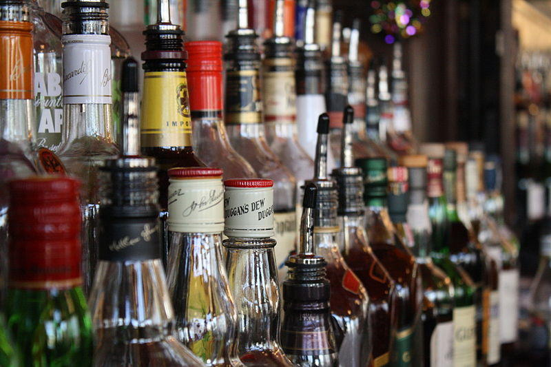 An array of liquor bottles.
