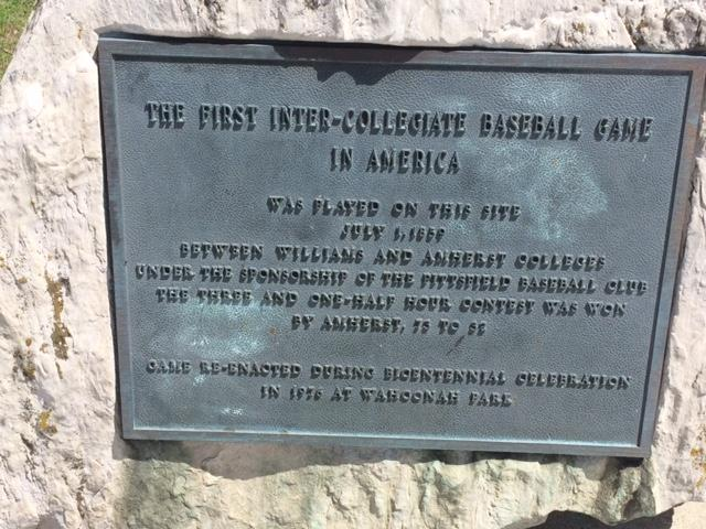 A plaque in Pittsfield, Massachusetts, marks the location of the first official intercollegiate baseball game in the U.S.