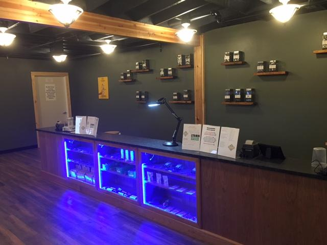 The interior of Farm Grass Table, a marijuana store in Portland, Oregon, which serves both recreational and medical customers. It is owned by Luke Ramirez, who used to sell marijuana before it was legal.