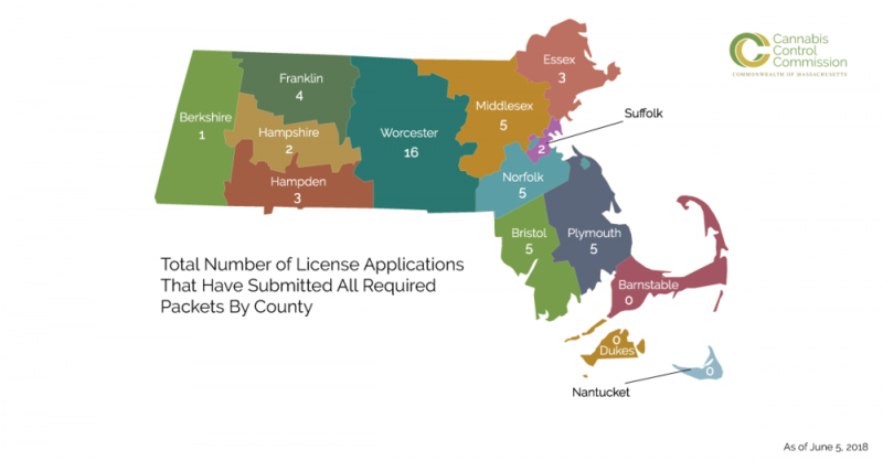There are 51 license applicants under review by the Massachusetts Cannabis Control Commission as of June 5, 2018.