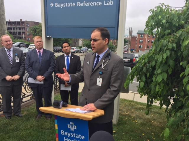 Dr. Orlando Torres, Medical Director of Baystate's High Street Health Center, at the announcement of the reimbursement on June 1, 2018.