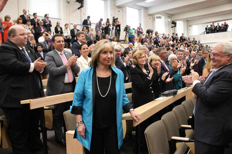 Massachusetts state Senator Karen Spilka sat next to former state Senate president Harriette Chandler before ascending the rostrum Thursday as the new Senate president.