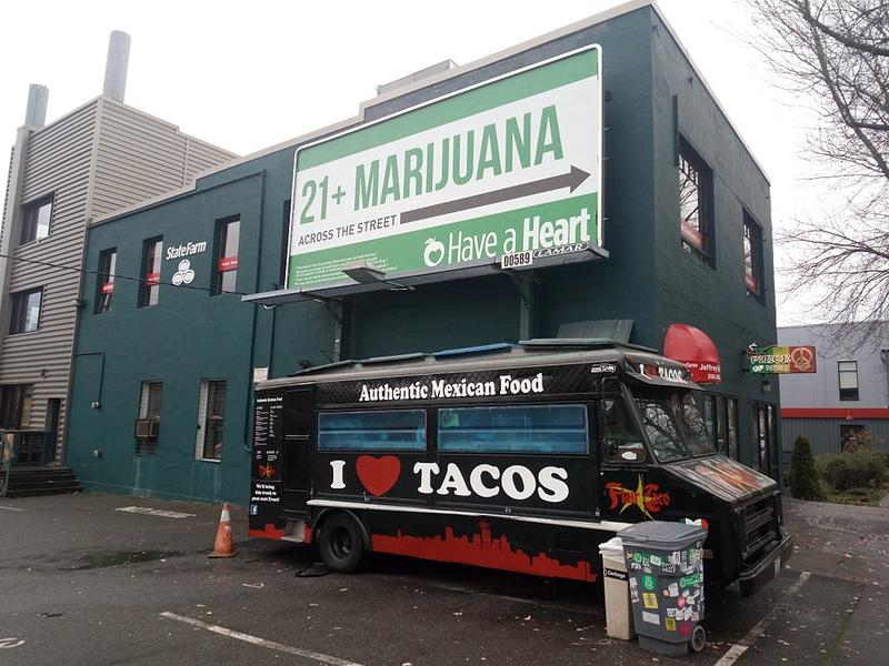 A marijuana store advertisement in Seattle, Washington.