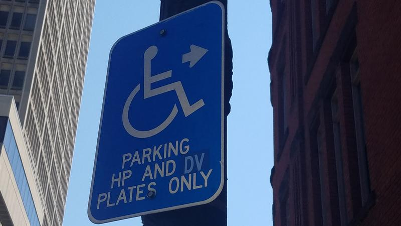 The sign above a handicapped parking spot in downtown Springfield, Massachusetts.