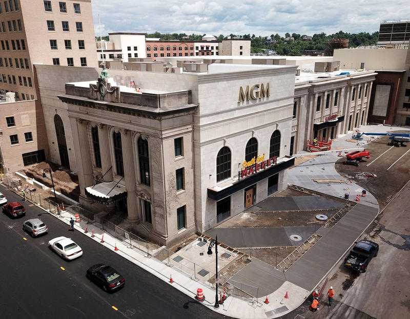 Construction underway on June 6, 2018, on the casino in Springfield, Massachusetts.