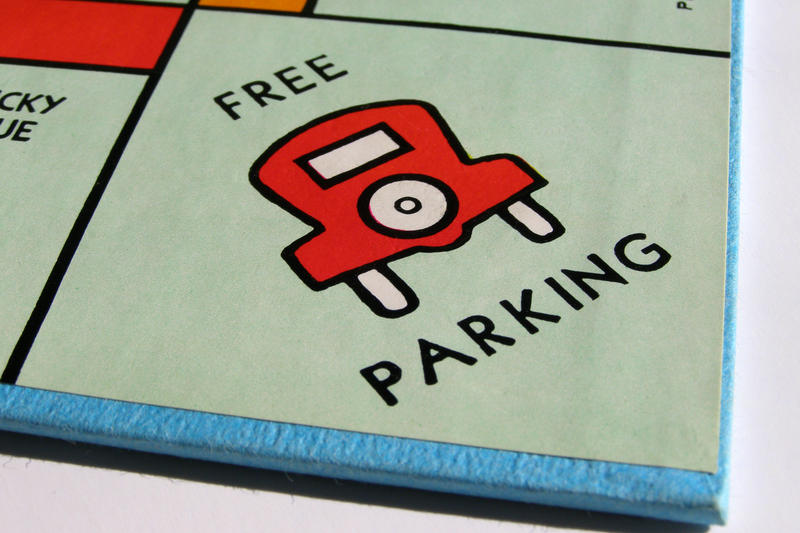 The parking space on a Monopoly board.