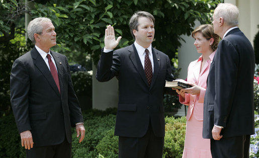 Brett Kavanaugh at his swearing-in ceremony to the U.S. Court of Appeals for the District of Columbia Circuit on June 1, 2006.