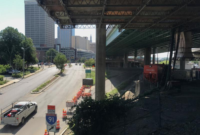 A view underneath I-91 in Springfield, Massachusetts, in July 2018.