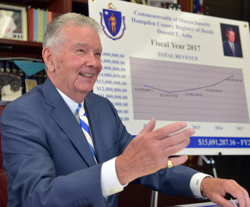 Registrar of Deeds Donald Ashe gave his bi-annual forecast on the state of real property in Hampden County on December 7, 2017.