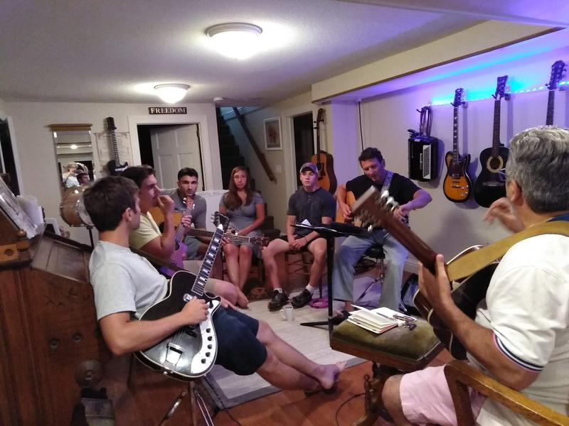 The Manzi Family Band in a Longmeadow, Massachusetts, basement, rehearsing for their July 14, 2018, show at the Majestic Theater in West Springfield, Massachusetts.