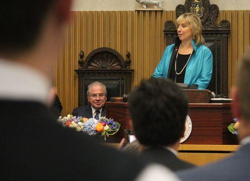 Senate President Karen Spilka and House Speaker Robert DeLeo.