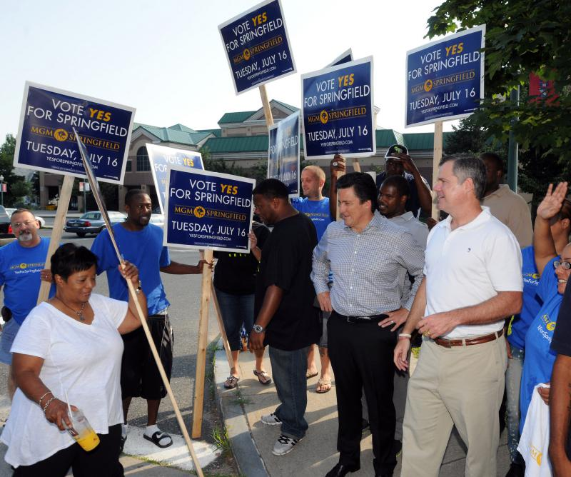 MGM executives and campaign supporters try to get their message out on July 16, 2013, when the city held its referendum on the casino deal.