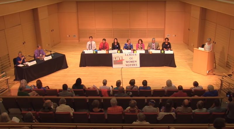 The seven Democratic candidates for the 1st Franklin District in the Massachusetts House met for a debate at Deerfield Academy on August 7, 2018.