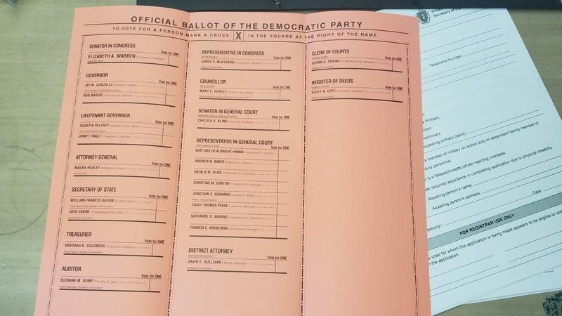 A Democratic absentee ballot from Leverett, Massachusetts, for the state primary election on September 4, 2018.