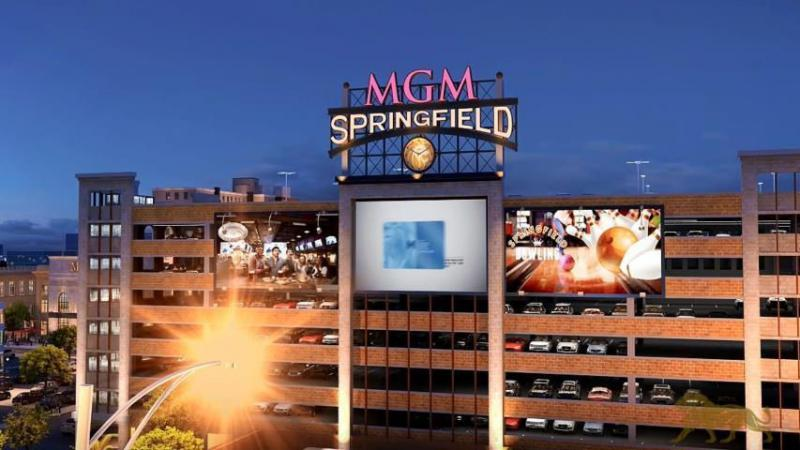 An artist's rendering of the dynamic sign below the MGM Springfield marquee and other signs on the casino's parking garage facing Interstate 91.