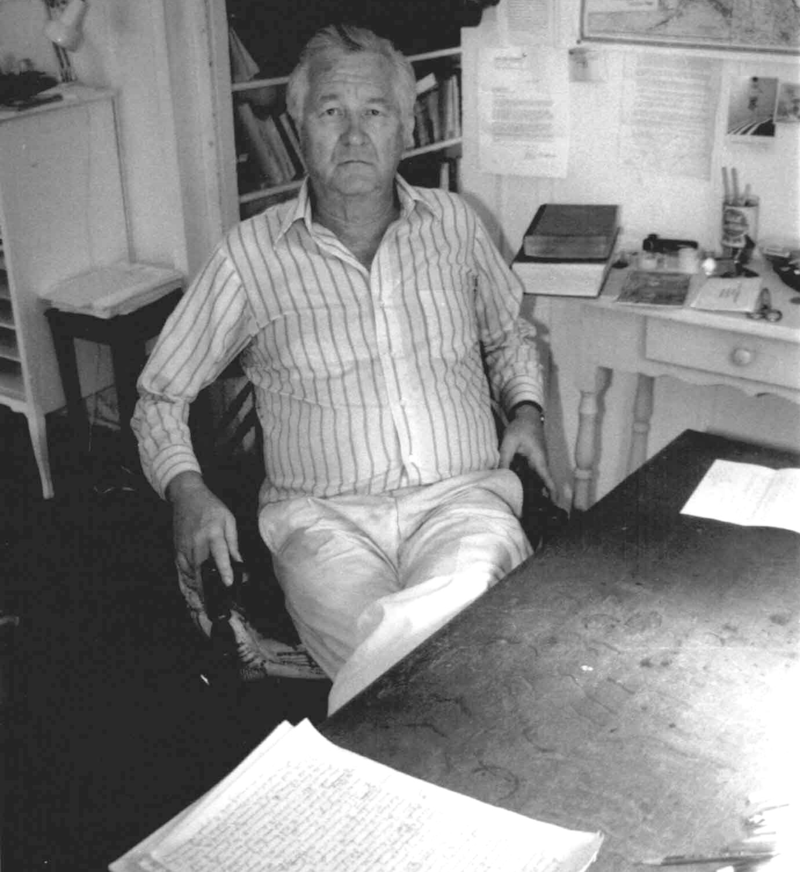 William Styron in his writing room on Martha's Vineyard in 1989.