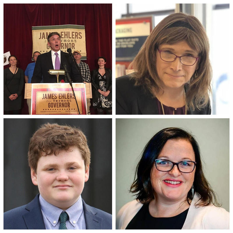 Democratic candidates for Vermont governor. Clockwise from top left: James Ehlers, Christine Hallquist, Brenda Siegel and Ethan Sonneborn.