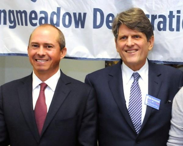 Gubernatorial candidates Jay Gonzalez, left, and Bob Massie attended a Longmeadow Democratic Town Committee event.