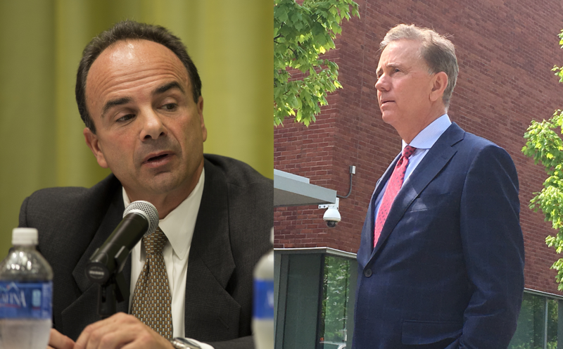 Connecticut's Democratic candidates for governor, Joe Ganim (left) and Ned Lamont.
