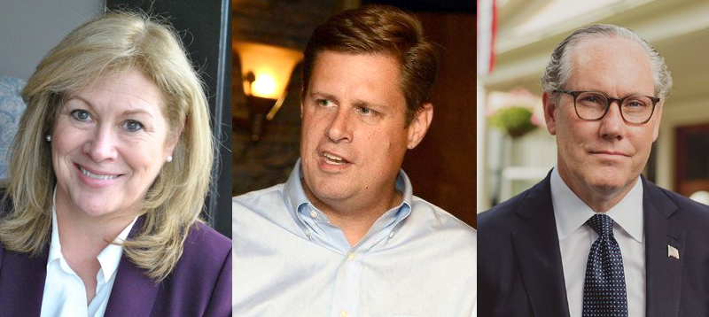 From left, Beth Lindstrom, Geoff Diehl and John Kingston. The three GOP candidates for U.S. Senate are vying in a state primary September 4 to face Massachusetts Sen. Elizabeth Warren in the November general election.