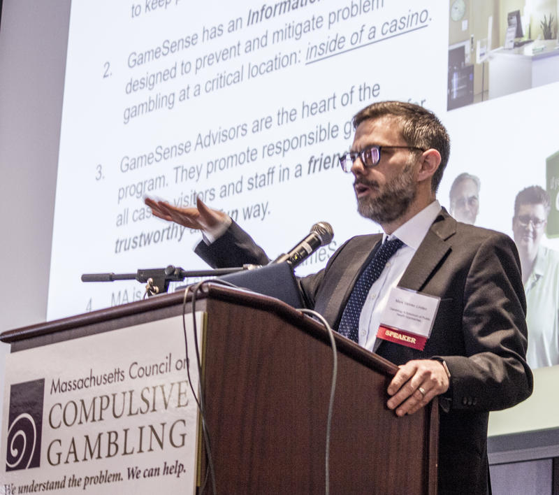 Mark Vander Linden of the Massachusetts Gaming Commisison presents in March 2018 at the Massachusetts Conference on Gambling Problems.