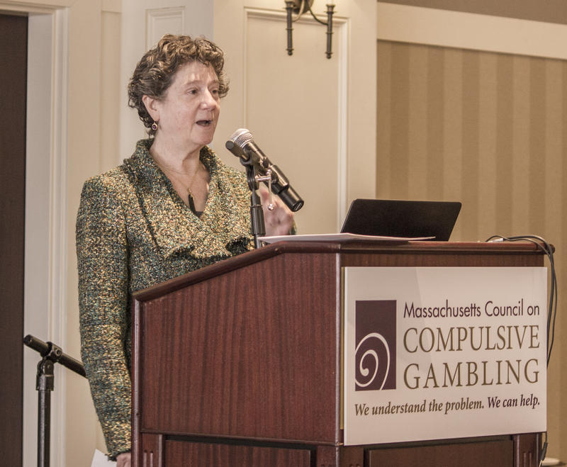 Rachel Volberg of UMass presents at the March 2018 Massachusetts Conference on Gambling Problems.