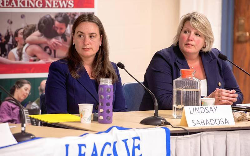 Lindsay Sabadosa (left) and Diana Szynal at a 1st Hampshire House Democratic debate on July 30, 2018, in Northampton, Massachusetts.