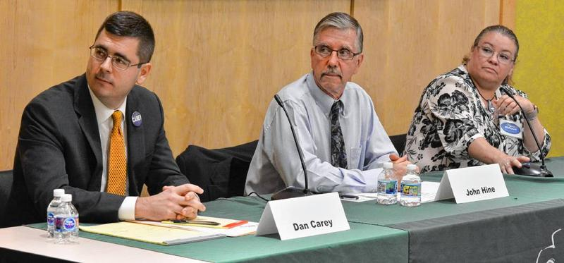 From left, Dan Carey, John Hine and Marie McCourt, who are Democratic candidates for the 2nd Hampshire District seat, at a candidate forum in South Hadley, Massachusetts, on August 22, 2018.
