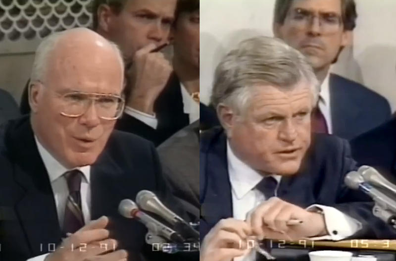 While Vermont Senator Patrick Leahy, at left, was front-and-center during the 1991 hearings investigating Supreme Court nominee Clarence Thomas, Massachusetts Senator from Ted Kennedy kept mostly quiet.