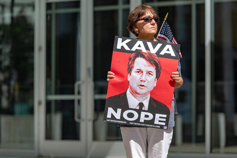 A protester against the confirmation of U.S. Supreme Court nominee Brett Kavanaugh in St. Paul, Minnesota.