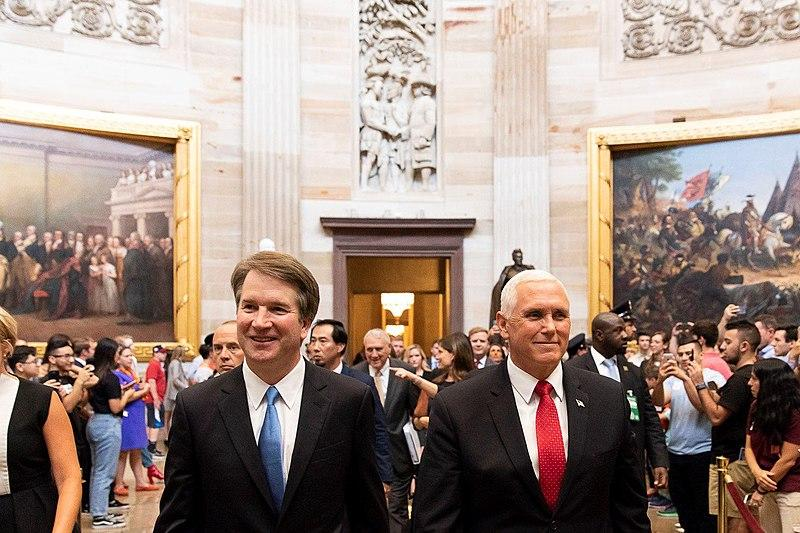 Vice President Mike Pence, at right, escorts Supreme Court nominee Judge Brett Kavanuagh to the U.S. Capitol in July 2018.