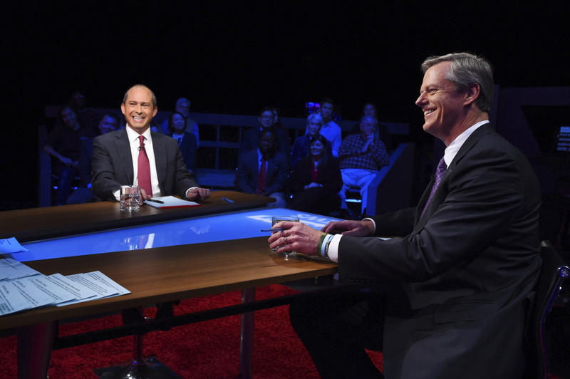 Republican Gov. Charlie Baker, right, and Democratic challenger Jay Gonzalez wait to be introduced prior to a televised debate at the studios of WGBH-TV in Boston on Wednesday.