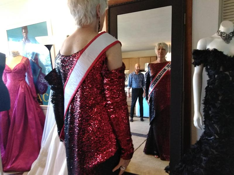 Dress designer Robert Donegan, owner of Robert Keith Couture in West Springfield, Mass., with Marcia Morrision, about a month before she competed in the national Ms. Senior America contest.