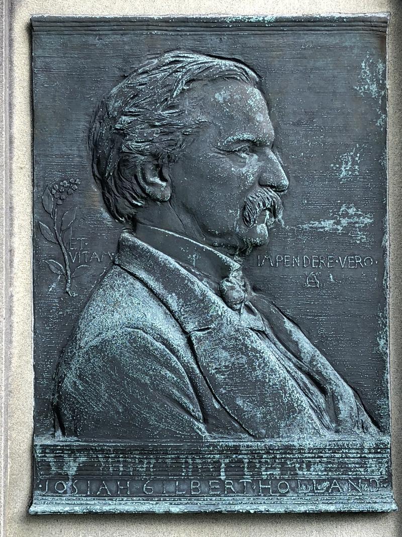 Augustus Saint-Gaudens's bas-relief of Belchertown, Massachusetts, author Josiah Gilbert Holland.