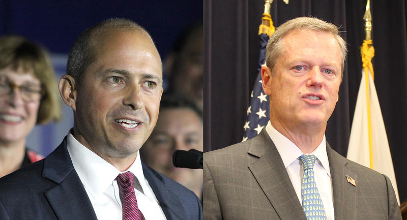 Challenger candidate Jay Gonzalez, at left, and Massachusetts Governor Charlie Baker.