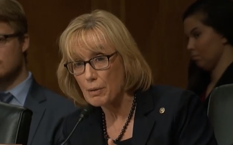 U.S. Sentaor Maggie Hassan of New Hampshire, at a hearing of the Homeland Security and Governmental Affairs Committee on Oct. 10, 2018.