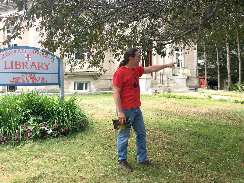 Drew Lopenzina points out the location of a historical marker to be unveiled October 13.