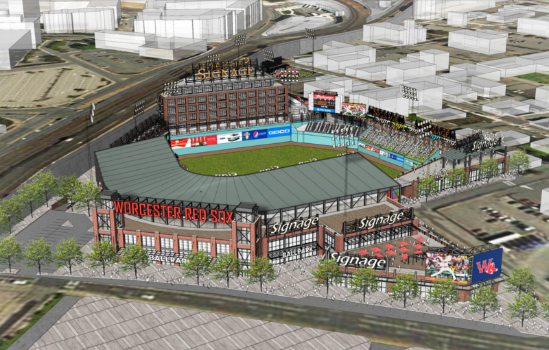 A conceptual rendering of a proposed ballpark in Worcester, Massachusetts.