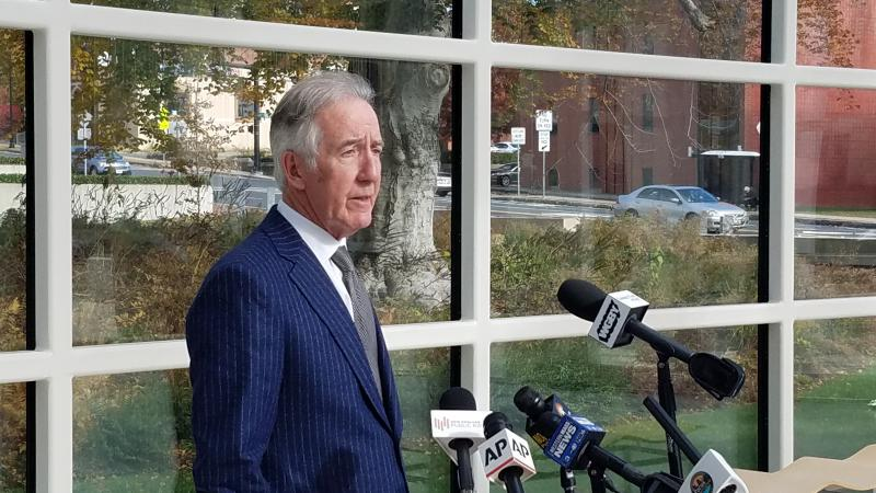 Massachusetts Congressman Richard Neal speaks to reporters in the lobby of the federal courthouse in Springfield on November 7, 2018.