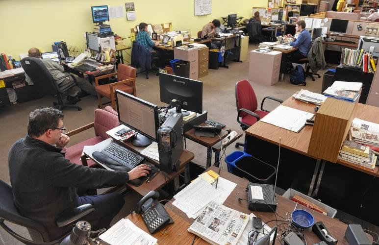 The Daily Hampshire Gazette newsroom in April 2018.
