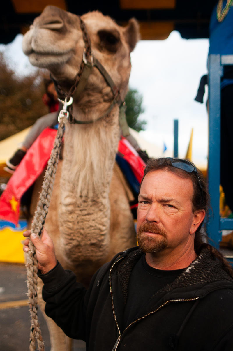 Tim Commerford with one of his camels at the Big E in October.