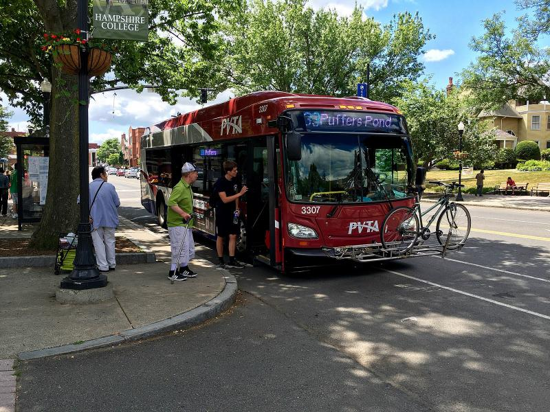 A PVTA bus in Amherst, Massachusetts.