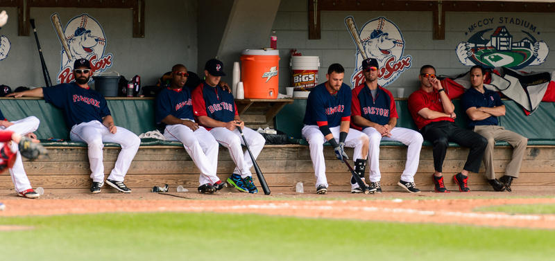 PawSox players in the dugout in 2014.