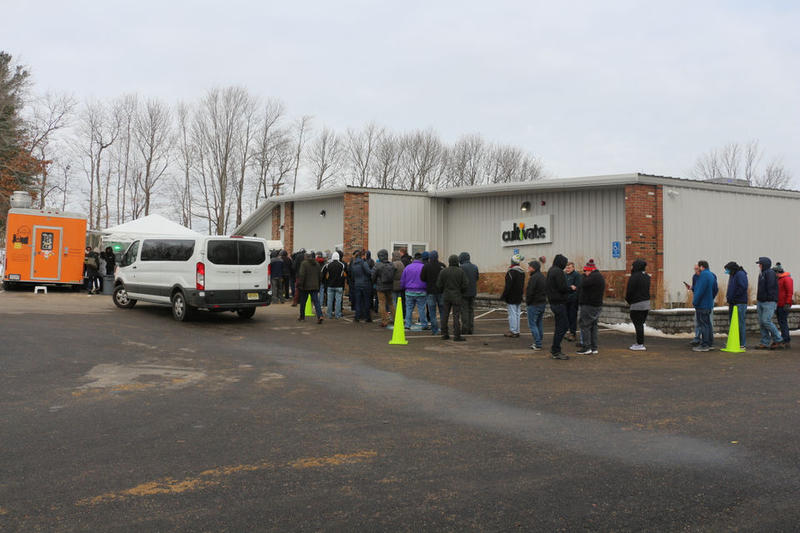 Customers lined up outside the Cultivate Holdings building in Leicester, Massachusetts on November 21, 2018.