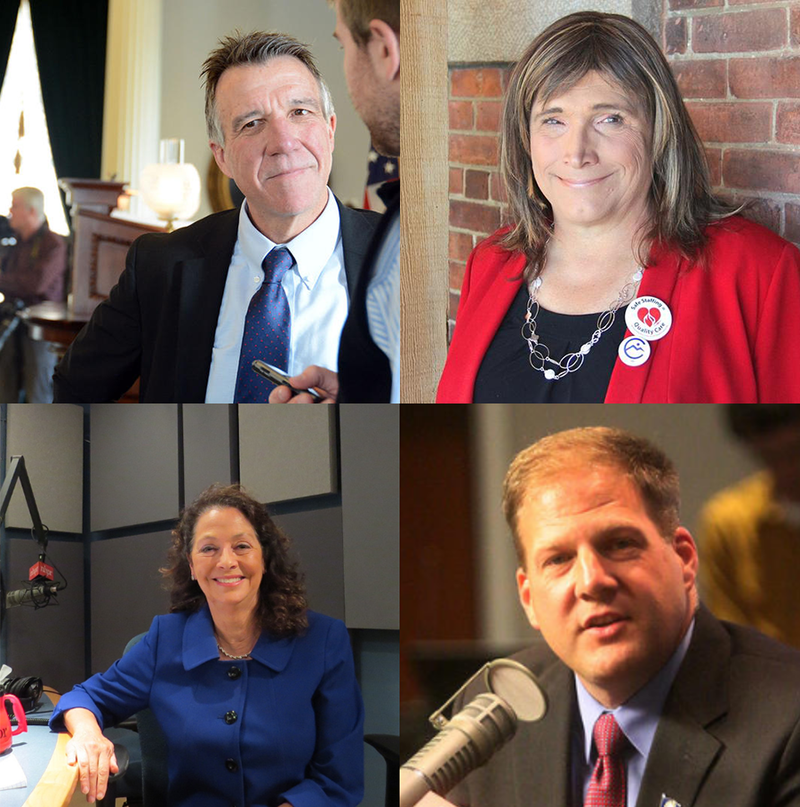 Clockwise from top left, Vermont GOP Governor Phil Scott, Vermont Democratic challenger Christine Hallquist, New Hampshire GOP Governor Chris Sununu, and New Hampshire Democratic challenger Molly Kelly.