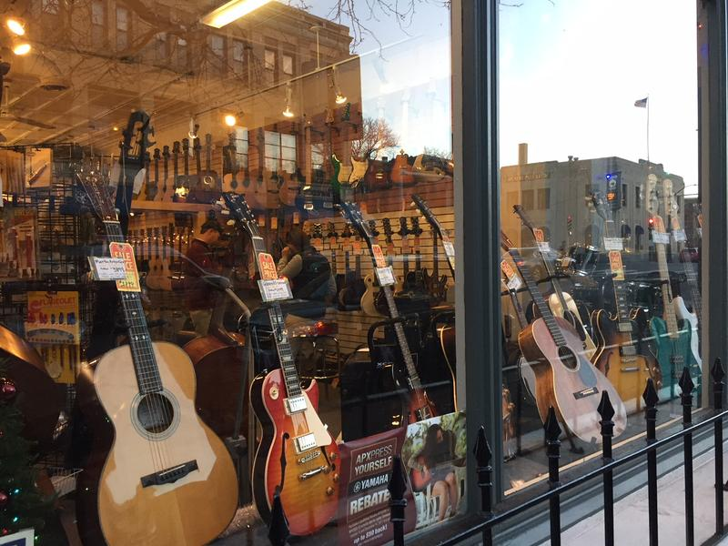 Looking in the window at Downtown Sounds in Northampton, Massachusetts.