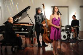 Singer Martha Bassett and members of the Carolina Chamber Symphony Players Jazz Trio, pianist Federico Pivetta, bassist Matt Kendrick, and drummer John Wilson.